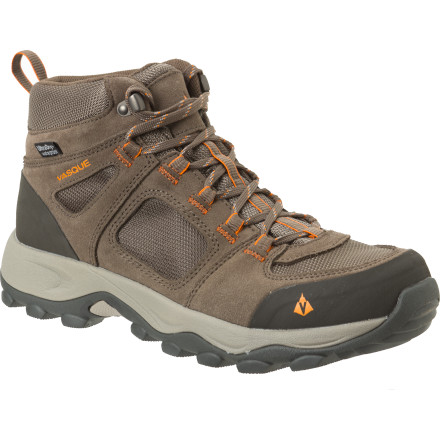 Camp and Hike The Vasque Vector WP Hiking Boot proves you can have a heavy-duty boot without lugging around a bunch of unnecessary weight. A rugged mesh-and-suede upper resists abrasion but encourages ventilation, complementing the Vector's bomb-proof Vasque Quest sole. Don't worry, the designers at Vasque didn't ignore comfort when endowing this boot with mountain-ready toughness; a molded EVA midsole relieves joint pressure throughout the stride cycle. Feel free to stomp a few puddles too, since this boot comes equipped with a proprietary UltraDry waterproofing system. - $74.72