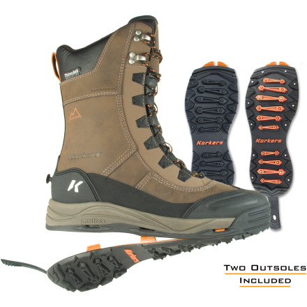 Whether you're ice fishing or shoveling icy sidewalks, the Korkers IceJack Lace Boot for Men has the warmth and grip necessary to get the job done. The innovative OmniTrax sole system allows you to quickly change between a rubber lug sole and a carbide-studded IceTrac sole, ensuring you always have the right grip for the conditions. Add in the fully waterproof construction and a healthy dose of Thinsulate insulation, and you're more than ready for whatever old man winter throws your way. - $189.95