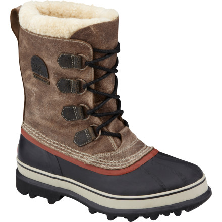 In honor of the 40th anniversary of the timeless Caribou boot, Sorel has produced the limited edition Men's Caribou Reserve Boot. Made with full-grain camel leather uppers, this boot has a subtle and bespoke quality worthy of the Caribou name. The boot comes with two felted wool and shearling innerboots, one with a fur cuff and one without. The waterproof rubber shell and AreoTrac outsole ensures that these boots perform as well as they look in tough winter conditions. - $314.96