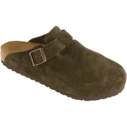 Entertainment Whether youre barbequeing or hackie sacking with the boys, the Birkenstock Mens Boston Suede Clog has closed-toe comfort and support written all over it. The comfy molded footbeds and shock absorbing EVA soles allow you to stand around and chill as long as you would like without any foot aches. - $103.96