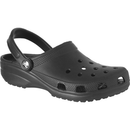 Entertainment Whether you want to see what all Crocs the fuss is about or you just need another color to complete your collection, the Classic Clog's renowned comfort and slip-on versatility provides a dependable, cushy platform for just about anything. Durable, stretchy, and water-friendly Croslite makes up this Crocs original. Its contoured, cushy footbed and convenient stretch heel strap ensure all-day comfort as you garden, tour the waterpark, or just run Saturday errands. - $26.96