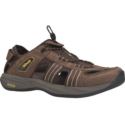 Entertainment The Teva Churnium Leather Sandal gives you the comfort of a sandal with the coverage of a shoe. It's a little bit of both and the best of each. Wear these when you want your feet to stay cool but not totally exposed. - $47.48