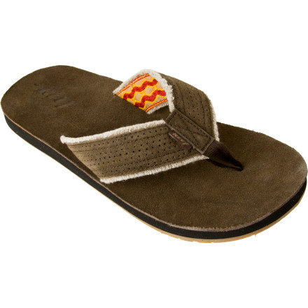 Surf Slip on the Reef Mens Surf and Saddle Sandal, and check out what the surfs doing. This comfortable sandal with suede strap and webb lining keeps you from stubbing your toe when riding your townie to your favorite break. The Surf and Saddle offers you superb anatomical arch support, and an ultra-grippy molded rubber outsole helps ensure you dont lose your footing when walking on a slippery walkway. - $20.98