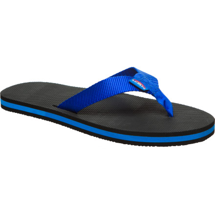Surf The Rainbow Classic Rubber Sandal is a buffed-up version of old-school thongs. While we find it a bit difficult to use the word 'thong' in relation to feet, it's that nod to vintage coolness that makes these tough little flips so awesome. - $27.95