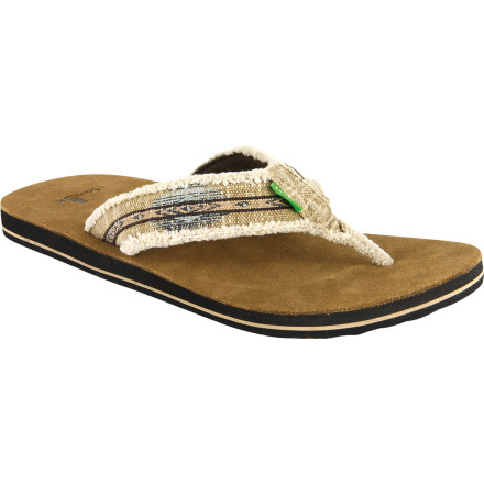 Entertainment Is it time to ditch those manky flip flops you got at the dollar store and trick your dogs out with the ultra-comfortable Sanuk Mens Fraid So Sandal' The name says it all. This comfy suede and canvas sandal is an essential part of a relaxing summer day. - $26.37
