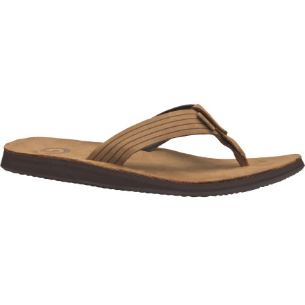Surf You're the best-shod guy in the tiki bar when you're sporting the Teva Men's Redondo Sandal. This good-looking flip features a full grain leather upper and topsole that give it a more dressy look that will pass the head-to-foot scrutiny from attractive strangers. Underfoot, the Much midsole offers incredibly soft, relaxing comfort during long hours on your feet drinking, talking, andwho knows, odder things have happenedeven dancing. - $27.47
