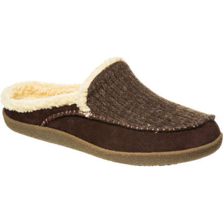 Entertainment Part slipper, part shoe, all comfort, the Acorn Men's Crosslander Mule blends the cozy feel of sherpa fleece with the classic look of suede and wool. Bust out your smoking jacket, load up your pipe, and get ready to ponder a mystery on a Sunday morning. - $50.97
