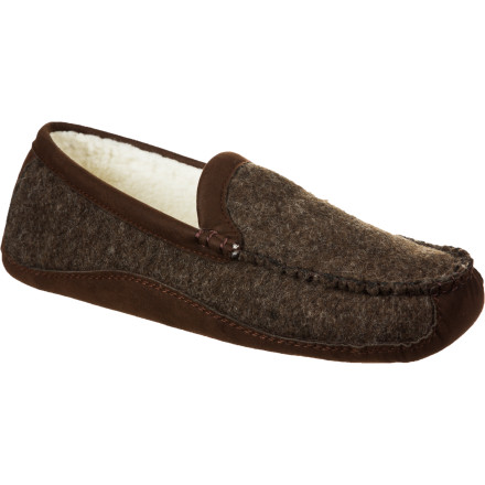 Entertainment The soft, superior warmth of a slipper with the rugged support of an EVA- and tread-endowed shoe: the Acorn Men's Luke Moc Slipper gives you that, plus Italian wool, suede, and fleece. Your foot just got cozy and cultured. - $41.97