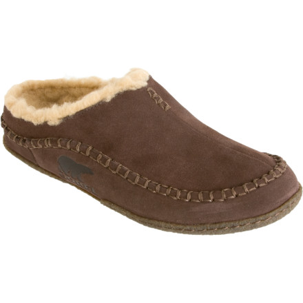 Entertainment Slip on the Sorel Mens Falcon Ridge Slipper after a long day of chopping wood, hunting, or riding the Iditarod. The Falcon Ridge Slipper puts a smile on your face with a wool blend lining and EVA footbed that warm and cushion your hardworking slabs. A suede upper keeps you looking suave when guests stop by, and a natural rubber outsole provides enough protection from the elements to walk the dog or grab the morning paper. - $59.46