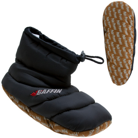 Camp and Hike Whether youre on a big-mountain expedition or just a big day of being lazy around the house, the Baffin Mens Cush Booty Slipper provides packable warmth for keeping your digits toasty. The faux-shearling liner has a soft feel, and the lockable drawcord keeps out snow when you have to dig the tent out. The slip-resistant outsole gives you a solid grip without clunky rubber when you head out for the newspaper. - $17.37