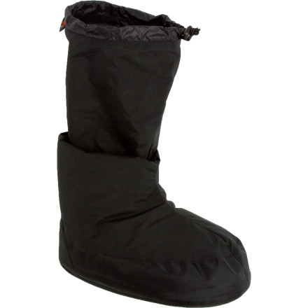 Camp and Hike Cold-weather camping can be a good time, or it can be completely miserable. Western Mountaineering's Expedition Down Booties make all the difference in the world when you're at camp and the temperature drops. WindStopper fabric protects you feet and ankles from Mother Nature's wrath, while 800-fill-power European goose down coddles you in soft, fluffy warmth. You're not into camping after September' Try the Expedition Down Booties at home, and enjoy unparalleled comfort with your feet up on the coffee table. - $99.95