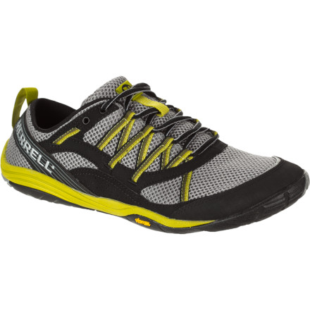 Fitness Merrell's Flux Glove Sport Running Shoe brings you closer to the ground and closer to a healthy stride without exposing your toes and soles to every piece of rubble you may encounter on the road. A low-profile sole and zero millimeters of heel-to-ball drop mean more surface area for traction, even pressure distribution, and an overall healthy gait. - $99.95