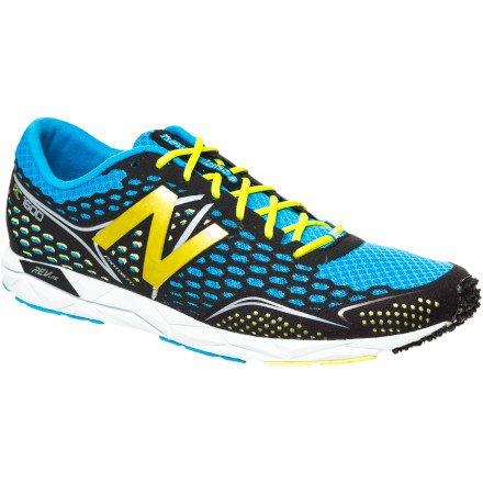 Fitness From the lace to the last, the New Balance Men's MRC1600 Running Shoe is a competition flat for marathon distances. Dynamic cushioning eases the fatigue of repeated foot strikes on hard pavement, a moderate heel-to-toe drop enables clean foot roll, and the mesh upper keeps cool air flowing freely past your foot. You'll have a hard time finding fault with a shoe that weighs only 5.8 ounces yet packs the perfect balance of low weight, high energy return, and a smooth, consistent flex. - $71.47