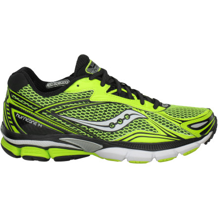 Fitness Hammer out the miles without excessive pounding with the pavement when youre wearing the Saucony Men's Powergrid Hurricane 14 Running Shoe. This full-featured shoe is designed to offer maximum support for high-mileage runners and over-pronators. While generously cushioned, the shoe features a relatively small 8mm heel-forefoot drop to encourage a more natural stride. - $90.97