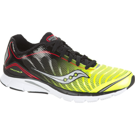 Fitness Saucony's Men's ProGrid Kinvara 3 Running Shoe embraces the idea of minimalist design without shorting you on cushioning or comfort. At just 7.7, ounces this shoe feels feathery light underfoot so you have less shoe to contend with and everything from the uppers to the outsole were designed with enough flexibility to encourage your foot to move with utter freedom. Seamless uppers feel buttery smooth against your foot whether you decide to go barefoot (as some do) or rock a thin pair of synthetic socks. A mere four millimeters of heel-forefoot offset (drop) allows you to more easily adopt a midfoot or forefoot striking style, but there's enough cushioning to allow you to revert to a heel strike if you need to relax a little late in your run. Saucony has a range of minimalist-style road shoes under ten ounces, including the Mirage 3 and the Virrata. Compared to the Kinavara, the Mirage offers additional midsole support and a HRC Strobel board to improve cushioning while the Virrata features a zero-drop offset and ultralight build (just 6.5 ounces). A healthy balance between these two options, the Kinavara is for the 5k runner looking for a reduced-drop shoe or the marathoner who wants to go light without sacrificing cushioning or flex. - $79.96