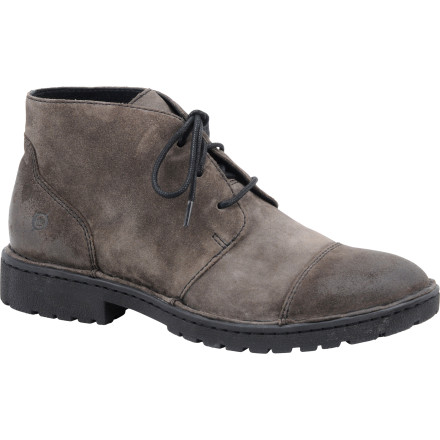 The classic, utilitarian styling of the Men's Boyd Boot gives a nod to past generations of footwear. Careful stitching pulls together the smooth lines of the pig skin upper, and the deeply treaded leather sole looks the part on the street or off the beaten path. Wear this Born Shoes boot with a nice pair of jeans at night and pair it with clean-cut khakis during the day. - $104.96