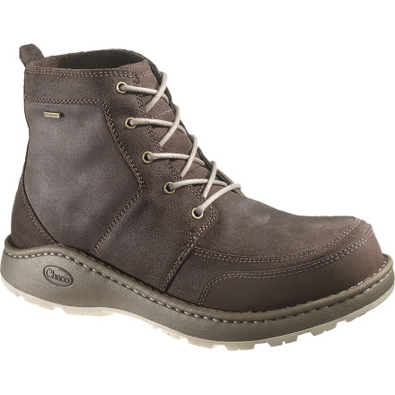Camp and Hike Reminiscent of your old leather hiking boot, the Chaco Men's Dundas Boot offers enough weather protection for a wet night at camp and enough style for a casual dinner downtown. With rugged good looks on the outside, the waterproof membrane on the inside, and a Vibram sole underfoot, you can't go wrong with the Dundas Boot. - $107.97