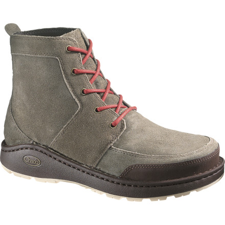 Camp and Hike Take the Chaco Men's Dundas Boot for a spin downtown or on the wet trails behind your house. With rugged good looks and a tough-as-nails build, this boot protects your toes on a hike and it matches handsomely with your favorite denim. Like any good boot, it's a little surly and a little suave. - $95.97