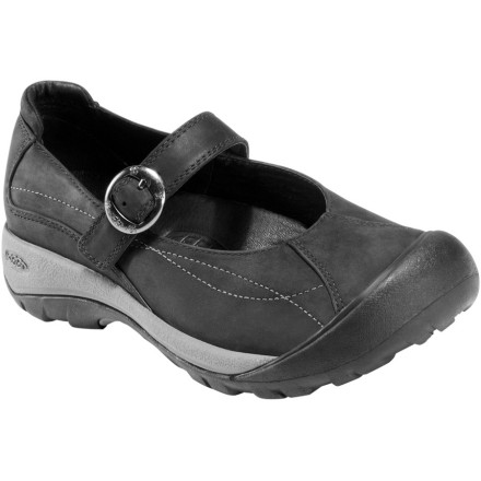 The Keen Women's Toyah MJ Shoe combines style and comfort with its fashionable design and supportive construction. The Toyah features a waterproof nubuck upper to handle anything from rain to spilled coffee, and a removable EVA footbed for arch support and cushioning. The adjustable instep strap creates a feminine look you can wear to the office or to the pub, while the rubber outsole provides durable traction. - $89.95