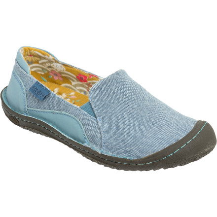 Summer is the time to sit back, relax, and take in the sights and sounds of the season. And with a state of mind like that, who wants to bother with the hassle of bending over and tying a shoe every time you leave the house' Thank goodness you have the ultra-comfy Keen Women's Summer Golden Slip-On Shoe to escort you to your favorite summer poolside or farmers market. The durable canvas and leather upper stand up to a heap of weekend wandering and afternoon ambling, and the non-marking rubber outsole won't scuff your floors whenever those travels bring you back 'round to the homestead. - $42.48