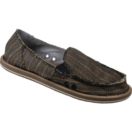 Surf Slide into the Sanuk Women's Donna Shoe and set the summer off on the right foot. This slip-on shoe blends an ultra-cushy footbed with the functional upper of your favorite slipper. The Donna Shoe's genius lies in Sanuk's Barefoot Untechnology. This system allows your foot to absorb shock using the natural flexion of your foot arch as opposed to airbags or shanks doing the work for you. The Donna Shoe comes wrapped in a funky canvas upper that'll go great with almost anything you wear. - $33.77