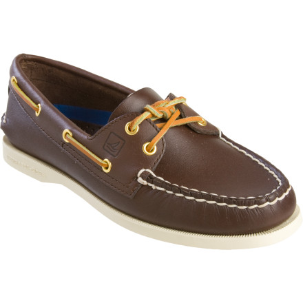 Your big, ocean-worthy vessel may be a just figure of your imagination (for now), but you still slip on the Sperry Top-Sider Women's A/O 2-Eye Loafer and skip through the streets like you just pulled into port. Hand-sewn for durability and unmistakable quality, this boat shoe spews classy style no matter what mode of transportation you use. An EVA foam heel cup and leather footbed provide the cushioning and arch support your foot requires for extended stays on shore. When you get back on the boat, the grippy rubber outsole provides ample grip to keep you on board. - $75.96