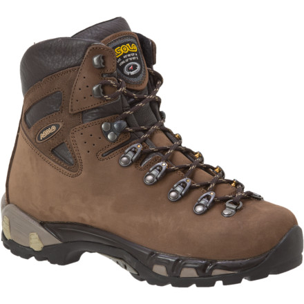 Camp and Hike The most breathtaking sunsets and sunrises are earned by hardy trekkers and backpackers. The rugged trail that guides you toward mountain serenity necessitates the sturdy leather Asolo Women's Power Matic 250 V Backpacking Boot for secure, stable steps through rough terrain. When you're carrying a heavy backpack for a weekend trip (or longer), this boot's tall collar and rigid arch provide support to prevent ankle and foot injuries while also reducing fatigue. - $99.98