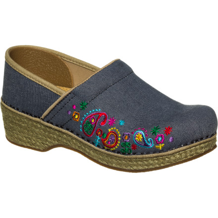 Slip into comfort paradise when you wear the Dansko Women's Jute Pro Clogs. Its hand-pressed jute outsole wraps flex naturally while you walk so you're not scuffling around town. Thanks to its moisture-wicking microfiber sock liners your feet stay fresh all day long. If you're worried about discomfort, don't be, since the Jute's midsoles offer you plenty of support and comfort for all-day wear. - $99.96