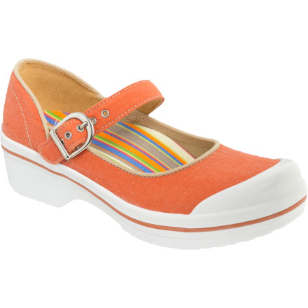 The Dansko Women's Valerie Canvas Clogs easily win you over with its Signature Rocker Bottoms, slip-resistant rubber outsoles, and beachy summer colors and prints. - $55.96