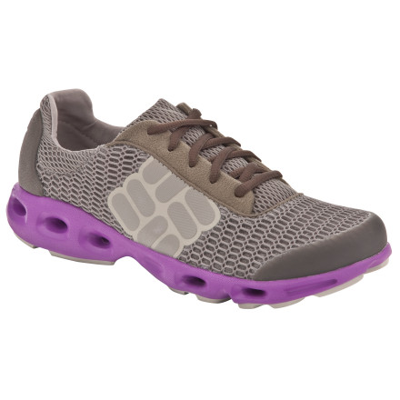 Fitness Instead of squishing and squashing when you wade out of the river or ocean, try the Columbia Women's Drainmaker Shoe. Its breathable open cell mesh upper with durable TPU toe cap and built-in drainage ports in the heel and forefoot allow for water to easily escape, so you're not lugging a ton of water around in your shoes. Columbia gave this shoe the feel of a lightweight running shoe with its meshy fabric upper, and lugged Omni-Grip Wet Grip rubber sole. Its Techlite midsole also provides you plenty of comfort when traversing across a small steam or walking across a stony shoreline when the tide has gone out. - $79.95