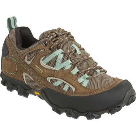 Camp and Hike The sweltering city chokes you with car-exhaust mirages and traffic jams, but you know how to escape. You lace up the waterproof and extra breathable Patagonia Women's Drifter A/C GTX Hiking Shoe and spend all day in the fresh mountain air. This low-top hiker's air mesh paneled upper lets your feet breathe as you ascend the spruce-smelling ridge while a Gore-Tex membrane encourages moisture expulsion and provides a barrier against invading water when a thunderstorm appears out of thin air. - $99.00