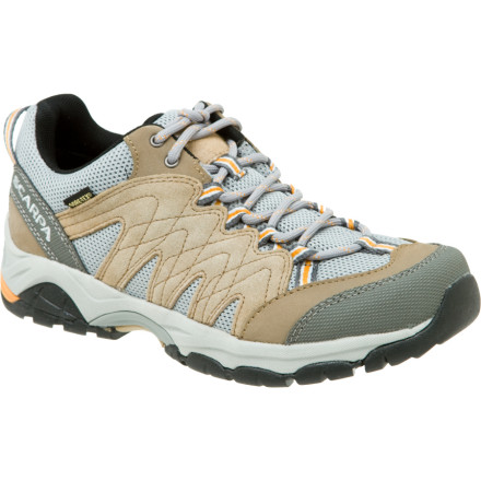 Fitness As you hit a hard incline, the Scarpa Womens Moraine GTX Hiking Shoe whispers words of encouragement into your ear. Whether you're on a light trail run or daylong hike, the shoe's waterproof breathable Gore-Tex insert keeps you dry through mud puddles and splashy stream crossings. - $87.47