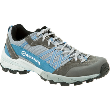 Camp and Hike Your favorite trail feels as smooth as butter when you wear the Scarpa Womens Epic Hiking Shoe for your next hike or trail run. A dual-density molded EVA midsole smooths out the impact in your forefoot and heel while the Trail Plate flexes just enough for comfortable, safe strides over uneven terrain. You may not think of it as you meander through the aspens, but the Epics recycled materials help you preserve the environment you love to play in. You will, however, think about the Trail-Speed outsole as you glide over mud and rocks without a worry in the world. - $94.95