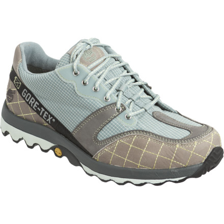 Camp and Hike The unique shape of the sole on the Timberland Women's Trail Wave GTX Shoe disperses energy and helps maintain a solid grip on uneven, wet terrain. - $77.97