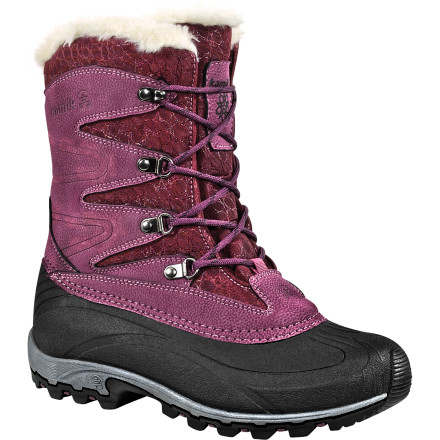 On snowy cold days, venture out to the slopes, town, or park with the Kamik Women's Alpinglow Boots. Equipped to keep your feet cozy and comfortable in temperatures as low as -25''F, the Alpinglow feature Thinsulate insulation, seam-taped waterproof construction, and fleece snow collars. Whether you're shoveling the driveway or walking down snow-covered streets, these durable snow boots ensure you're more than comfortable. - $56.97