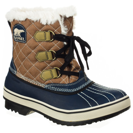 Camp and Hike Sorel doused the Womens Tivoli Boot with style and added a few extra fashion sprinkles for extra flair. Oh, and it keeps your feet delightfully warm and dry in frosty temperatures. High-loft fleece lining and Thinsulate insulation combine for plush comfort and a molded rubber outsole provides steady traction on slick and compacted snow. - $101.96