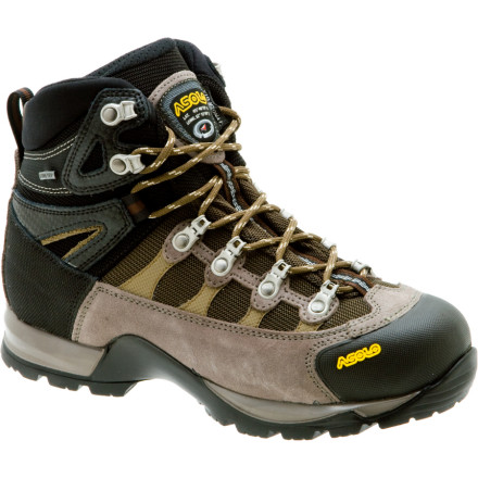 Camp and Hike Lace up the Asolo Stynger GTX Women's Backpacking Boots when you're covering long distances on the trail but don't want the weight or bulk of beefy boots. These sporty boots weight only 2lb 7oz (size 6.5), but pack in the heavy-duty features that make big hikes more comfortable. A Gore-Tex lining keeps your dogs nice and dry when you hit the trail after last night's rainstorm, and the Asolo Syncro sole provides excellent traction on muddy hillsides and slick rocks. The Stynger's lacing system locks your heel in place to eliminate lift and allows precision footwork on rough, steep trails that feel impossible in a big pair of waffle stompers. - $186.96