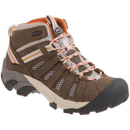 Camp and Hike Mesh linings in the Keen Women's Voyageur Mid Hiking Boots let your feet breathe, while the mid-height cuffs keep the support level up when you're shouldering a heavy pack. Four-millimeter lugs on the Voyageur Mid Hiking Boots grip rough terrain, while ESS shanks provide torsional stability. Lace up these Keen mid hikers, grab your summer camping gear, and hit the trail. - $119.95