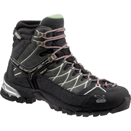 Camp and Hike The Salewa Women's Alp Trainer Mid GTX Hiking Boot gives you feel of an approach shoethanks to its tough rand and to-the-toe lacingas well as the comfort and light weight of a hiking shoe. How hard is this feat to pull off' Hard enough that Backpacker Magazine endowed the men's version of this boot with the 2011 Editor's Choice award. Not many boots manage that, do they' - $198.95