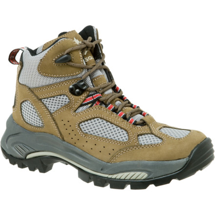 Camp and Hike The Vasque Breeze Women's Hiking Boot is a lightweight and stable boot designed specifically for backpacking with light loads or long distance fast hiking. The last thing you need on a 30-mile day is a heavy pair of boots weighing you down. So Vasque combined technology found in the breathable uppers of their trail running shoes with a stable hiking boot mid- and outsole to create a sure winner on the trail. Supporting the Breeze from below is Vasque's proprietary Vibram outsole, featuring aggressive lugs and a super stable heel and toe-off pattern. A nylon plate separates the outsole from the EVA midsole, and is clearly visible through gaps in the Vibram rubber. This plate has incredible forward flex combined with torsional rigidityletting your foot flow forward on the trail without being deflected by rocks and irregularities. Further, Vasque's high-quality DryTech footbed, with full arch support, rests directly on the midsole EVA for instant comfort and zero break-in period. Not too shabby! Finally, the Airmesh and Nubuck upper is super breathable and light, making the Breeze perfect for use in warm, dry climates. Should you get your boots a bit wet, the Airmesh dries quickly, making this boot great for all but the wettest conditions. - $64.98