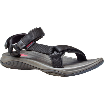 Entertainment If you've ever lost your flip-flops on the upside-down part of a stand-up roller coaster or had the roaring river rip them off your feet, check out a pair of the Teva Women's Pretty Rugged Nylon 3 Sandals. Made to securely stay on your feet thanks to its padded nylon universal strap system, the Pretty Rugged doesn't disappoint. Durable River rubber outsoles help keep your footing on slippery terrain, while EVA topsoles with water-channeling top groves help keep your feet from becoming a squishy-squashy mess. - $47.97