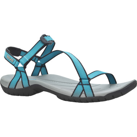 Entertainment The Teva Women's Zirra Sandal proves that less is more, offering serious adjustability without smothering your foot in a lot of straps and buckles. The slim webbing on the Zirra locks the performance sole to your foot and adjusts to fit you perfectly. - $55.96