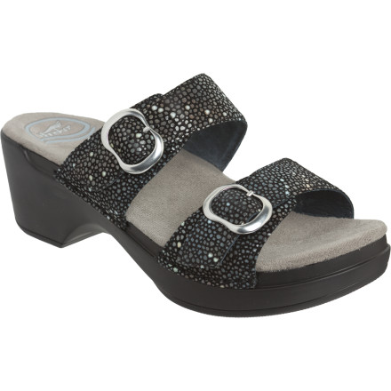 Entertainment The Dansko Women's Sophie Sandal lends a sharp and chic attitude to your wardrobe. It offers a strappy style that's casual enough to relax at a breezy ocean front bistro, but dressy enough to be taken seriously at a marketing meeting. - $114.95