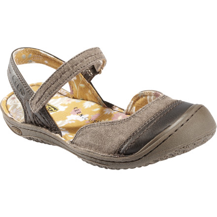 Entertainment There's something about warm weather that makes you yearn for cotton; KEEN answers the call with the Women's Summer Golden Sandal. The natural canvas upper in this airy Mary Jane-style sandal is reinforced with leather for strength and looks, but you get nothing but absorbent, comfortable fabric against your skin. Under the canvas footbed, your foot enjoys the usual cushy KEEN memory foam footbed and a sweet natural rubber sole for traction and tough protection from the pavement. An easy hook-and-loop strap holds the Summer Golden sandal in place as you explore the city in comfort and with style. - $40.00