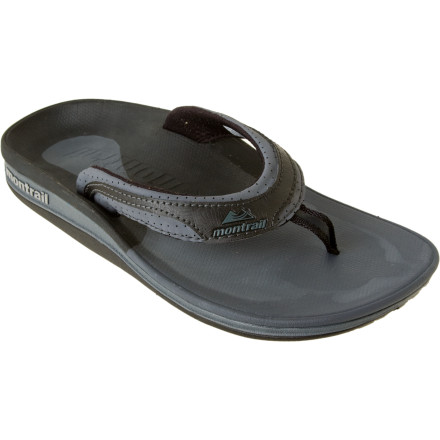 Fitness After you run, you always stretch. And after you stretch, you always put on your Montrail Women's Lithia Loop Sandal. Montrail built this plush flip flop with a full-length IntefraFit footbed that supports your arch and fascia for quick comfort and a speedy recovery. - $32.48