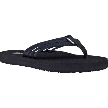 Surf Normally the word 'mush' doesn't generate positive images, but the Teva Women's Mush Adapto Sandal is definitely an exception to the rule. This cushy flip flop features a super-soft Mush foodbed that cradles your toes with luxuriously squishy goodness. The fashionable cord strapping on top keeps the sandal anchored to your foot and adds dash of elegance to your beachwear ensemble. - $19.96