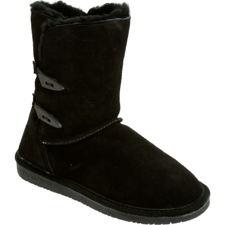 The Bearpaw Womens Abigail Boot cant help it if the rest of the shoes in your closet are jealous. The combination of warm sheepskin and a fashionable toggle button gives this boot a step up above the rest. Slip it on with your skinny jeans and your winter wardrobe can be complete. - $38.97