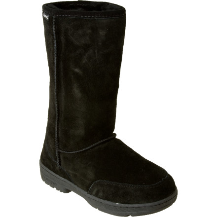 The Bearpaw Womens Meadow Apres Boot helps you think of warm sunny fields of flowers when your car door freezes shut. The sheepskin and wool lining keeps you warm as you trudge through the snow to scrape the ice from every crevice on your car doors. When that doesnt work, the durable rubber sole helps you find your way to the nearest bus stop without slipping. - $35.97