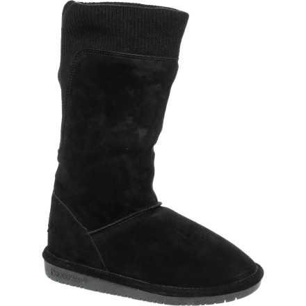 Check out the mountain village sights or hang out at the caf with the super-cozy Bearpaw Women's Gayle Boots. Made with cow suede and knit uppers, wool blend lining, and sheepskin footbeds, these simple yet stylish boots deliver the warmth and comfort you require in cold temperatures. - $44.97