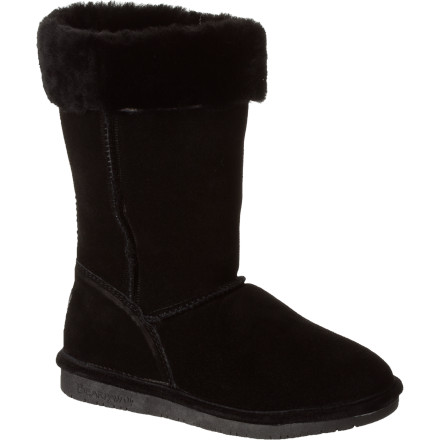 Stroll into the mud room and put on the Bearpaw Women's Marissa Boot before you venture out into cold and sunny winter weather. Its cozy sheepskin and wool blend lining provides exceptional warmth while you walk to the nearest movie rental kiosk, while the Marissa's sheepskin collar details offers a cozy appearance. - $51.96